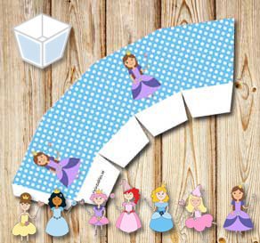 Light blue treat box with white dots and princesses  | Free printable treat box