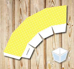 Yellow treat box with white dots  | Free printable treat box