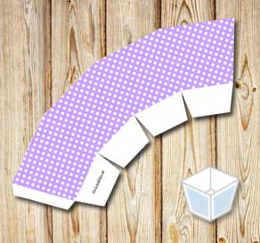 Light purple treat box with white dots  | Free printable treat box