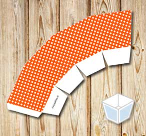 Orange treat box with white dots  | Free printable treat box