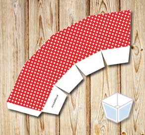 Red treat box with white dots  | Free printable treat box