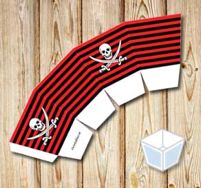 Red and black striped treat box with a white skull ...  | Free printable treat box