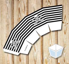 Black and white striped tread box with a white skul...  | Free printable treat box