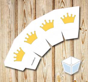 Treat box with princess crowns  | Free printable treat box