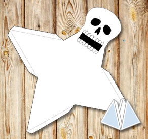 Skull pyramid gift box  | Free printable for Halloween
