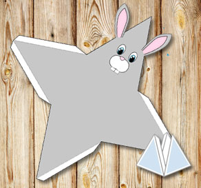 Animal pyramid gift box: Grey bunny  | Free printable for Easter
