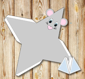 Animal pyramid gift box: Grey mouse  | Free printable gift box