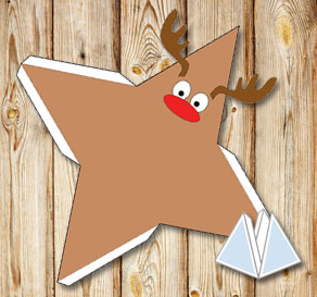 Pyramid gift box with a reindeer  | Free printable for Christmas