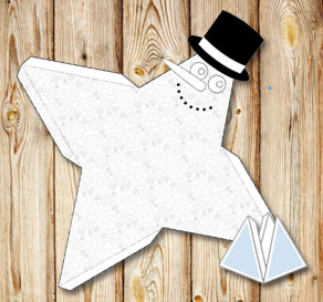 Pyramid gift box with a snowman and snowflakes to c...  | Free printable for Christmas