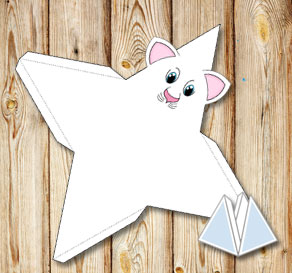 Animal pyramid gift box: White cat  | Free printable gift box