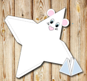 Animal pyramid gift box: White mouse  | Free printable gift box