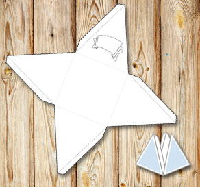 Pyramid gift box with a banner to color yourself 2  | Free printable gift box