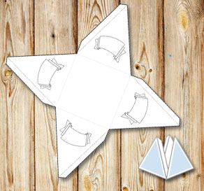 Pyramid gift box with banners to color yourself 2  | Free printable gift box