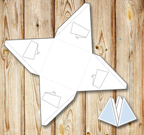 Pyramid gift box with banners to color yourself 3  | Free printable gift box