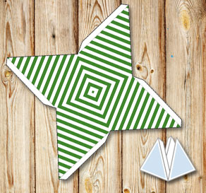 Green pyramid gift boxes with white stripes  | Free printable gift box