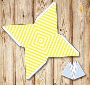 Yellow pyramid gift boxes with white stripes  | Free printable gift box
