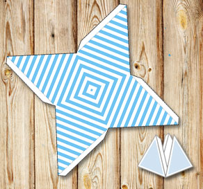 Light blue pyramid gift boxes with white stripes  | Free printable gift box