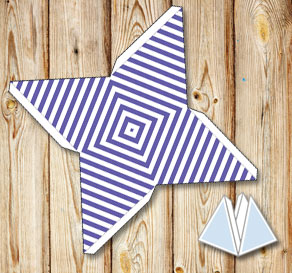 Purple pyramid gift boxes with white stripes  | Free printable gift box