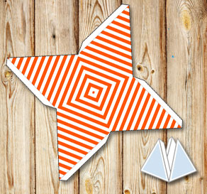 Orange pyramid gift boxes with white stripes  | Free printable gift box
