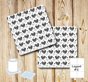 Coasters with black and white hearts  | Free printable for Valentines day