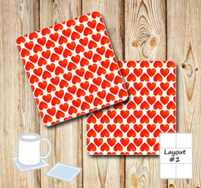 Coasters with red hearts  | Free printable for Valentines day
