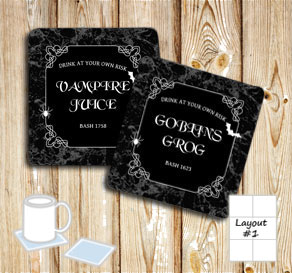 Marbeled coasters with  halloween text  | Free printable for Halloween