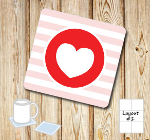 Light pink and white striped coasters with red hearts  | Free printable for Valentines day