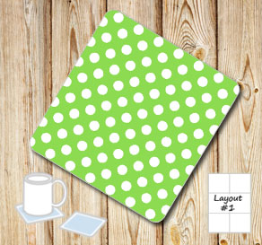 Green coasters with white dots  | Free printable coasters