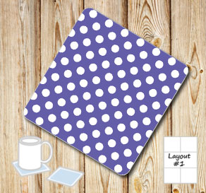 Purple coasters with white dots  | Free printable coasters