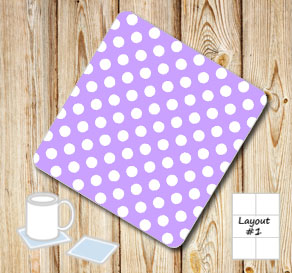 Light purple coasters with white dots  | Free printable coasters