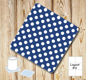Dark blue coasters with white dots  | Free printable coasters
