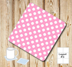 Pink coasters with white dots  | Free printable coasters
