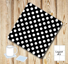 Black coasters with white dots  | Free printable coasters
