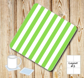 Green and white striped coasters  | Free printable coasters