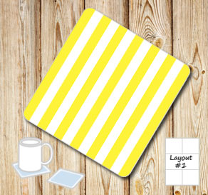 Yellow and white striped coasters  | Free printable coasters