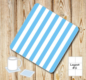 Light blue and white striped coasters  | Free printable coasters
