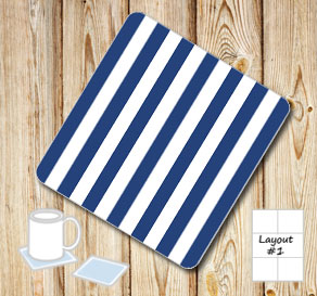 Dark blue and white striped coasters  | Free printable coasters