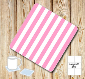 Pink and white striped coasters  | Free printable coasters