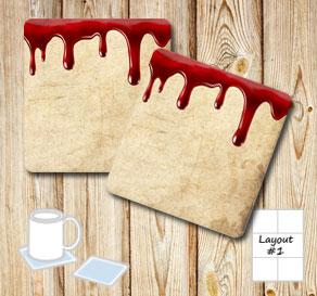 Coasters in bloody old vintage paper  | Free printable for Halloween