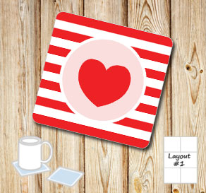 Red and wihte striped coasters with light pink hearts  | Free printable for Valentines day