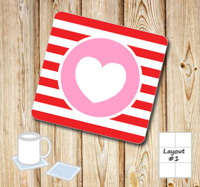 Red and wihte striped coasters with pink hearts  | Free printable for Valentines day