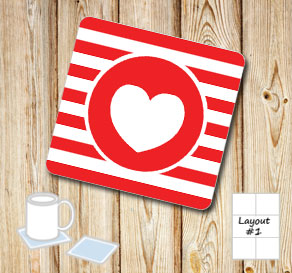 Red and wihte striped coasters with red hearts  | Free printable for Valentines day