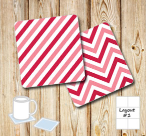 Coasters with pink chevron mix 2  | Free printable for Valentines day