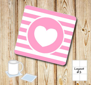 Pink and white striped coasters with pink hearts  | Free printable for Valentines day
