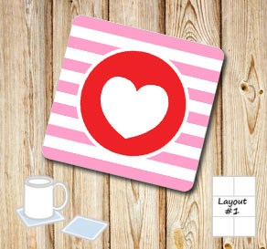 Pink and white striped coasters with red hearts  | Free printable for Valentines day