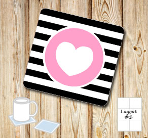 Black and white striped coasters with pink hearts  | Free printable for Valentines day