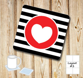 Black and white striped coasters with red hearts  | Free printable for Valentines day