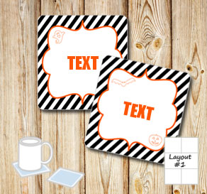 Coasters for Halloween with editable text 2  | Free printable for Halloween
