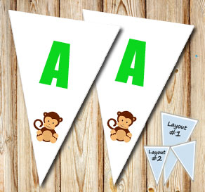 Pennant with a monkey  | Free printable pennant/banner