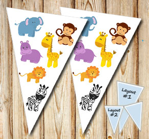 Pennant with wild animals  | Free printable pennant/banner